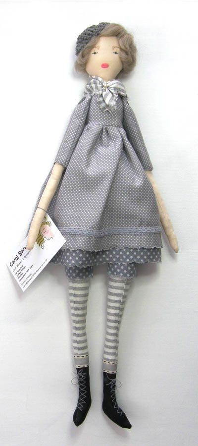 Milly - a handmade rag doll. She stands twenty inches and is quite a new pattern I developed. Tiny waist, not like me and a great big bottam, just like me!