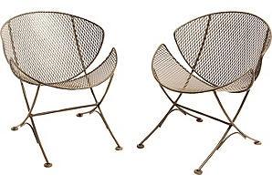 One Kings Lane - Midcentury Iron Chairs, Pair
