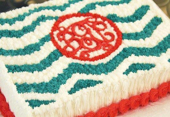 Monogram, chevron birthday cake.