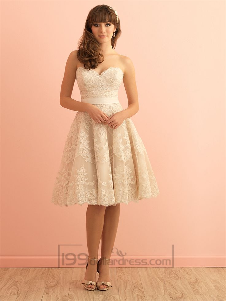 Strapless Sweetheart Knee Length Vintage Lace Wedding Dress