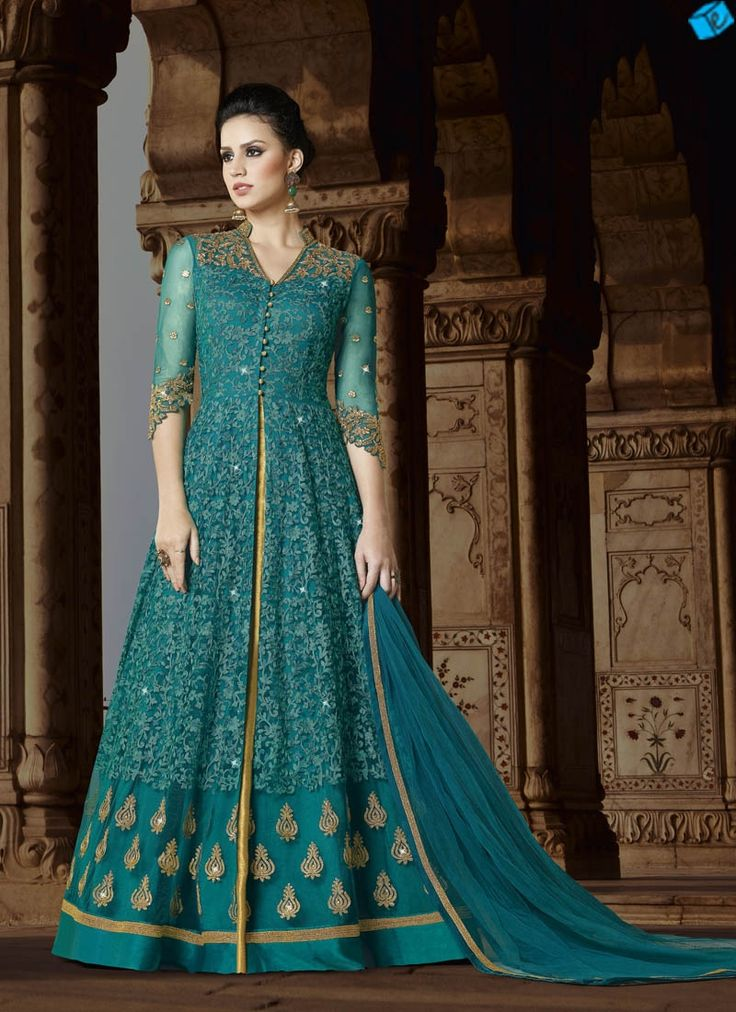 Sea Green Color Embroidered Indo Western Suit