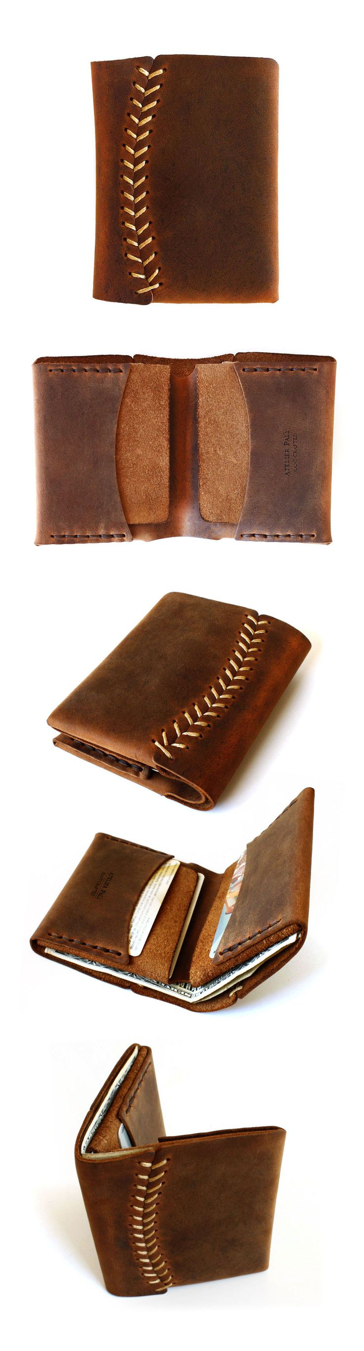 Billetera Hombre - Baseball stitch leather wallet by AtelierPALL.com