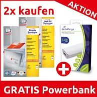https://www.hood.de/i/avery-zweckform-universal-etiketten-a4-papier-matt-2-400-etiketten-70-x-37mm--67050727.htm  2x Kaufen = GRATIS Powerbank