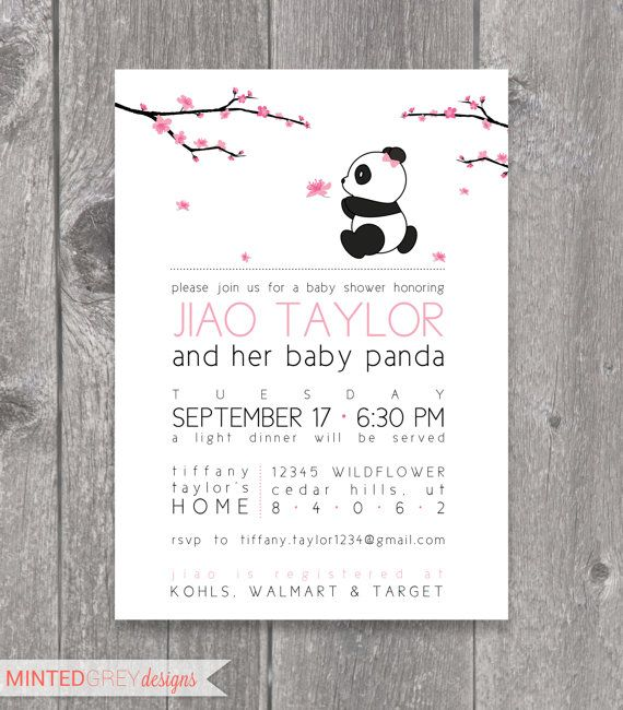 Printable Cherry Blossom & Panda Baby Shower by MintedGreyDesigns, $18.00