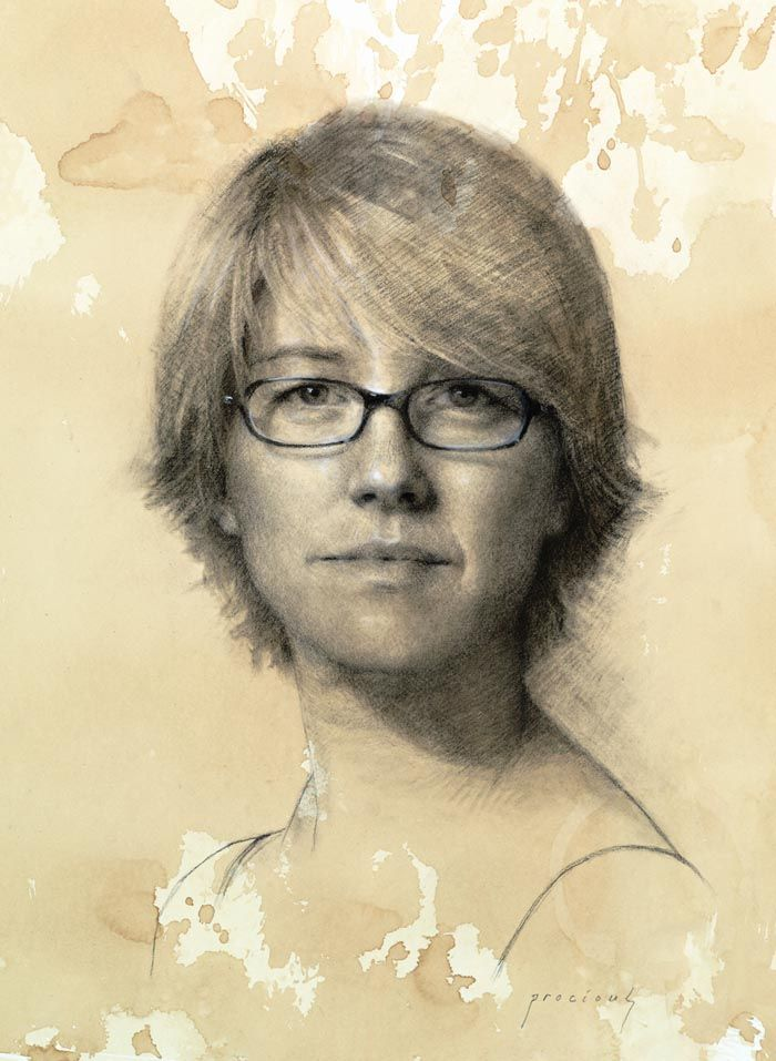 Self Portrait • Charcoal and white chalk on toned paper // Cindy Procious
