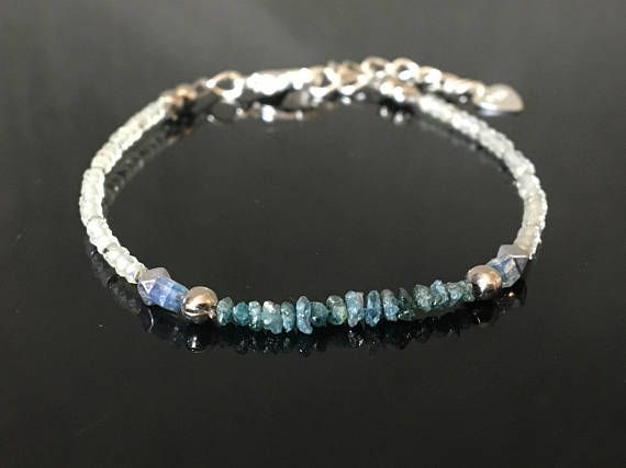 Blue Beauty Diamond Bracelet Raw genuine diamond Prehnite