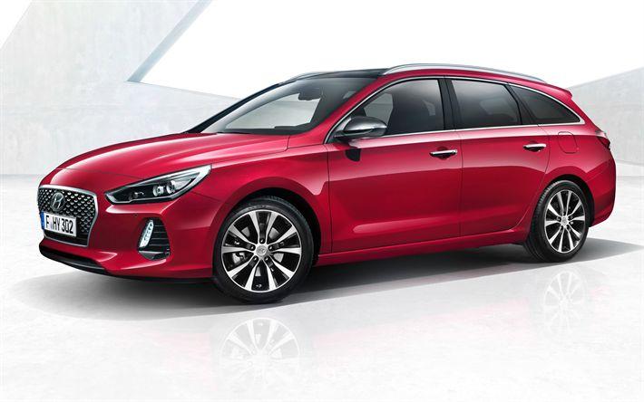 Descargar fondos de pantalla Hyundai i30 Wagon, 2018, rojo i30, autos nuevos, i30 station wagon, coches coreanos de Hyundai