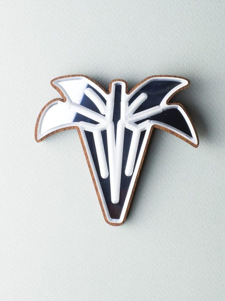 Mirror Palm Brooch #jewelry #design #brooch