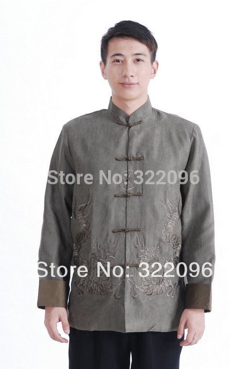 Shanghai Story new sale double dragon print suede jacket Chinese traditional jacket tang suit mandarin collar jacket Green M1146