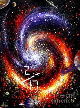 Spiral Galaxy Space Art Gouache