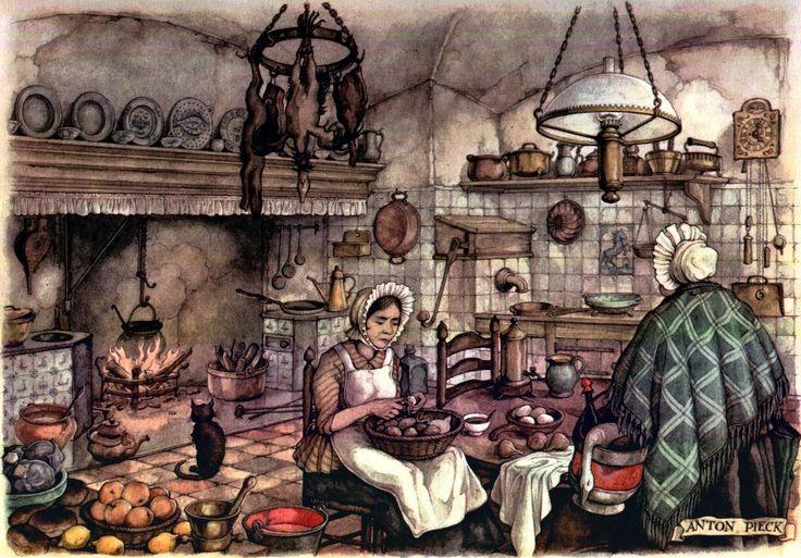 The Kitchen - Anton Pieck, Dutch painter, artist and graphic artist.