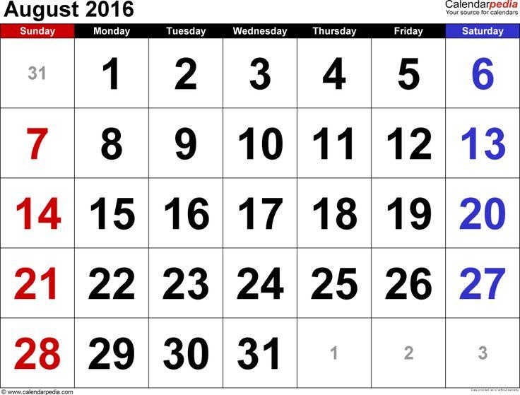 23 Best August 2016 Calendar Images On Pinterest 2015 Calendar