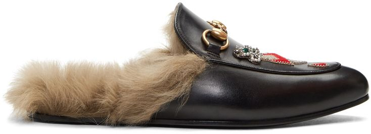 gucci shoes lion. gucci black lion \u0026 pierced heart princetown slip-on loafers. #gucci #shoes # flats | gucci men pinterest hjärta, lejon och lägenheter shoes a