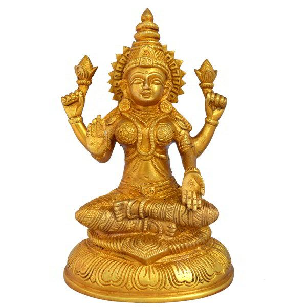 This religious decorative statue of Goddess Laxmi made of brass with high polished look gives an elegant look. This Idol can be placed in your pooja room or living room.