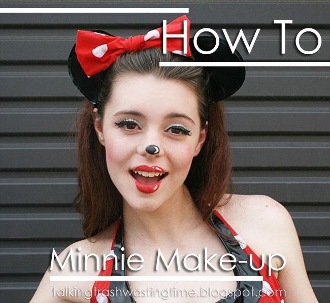 DIY Halloween Makeup Ideas : DIY Minnie Mouse cartoon Halloween Makeup HOW TO