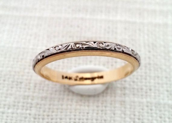 Antique Art Deco 1930s 14K Yellow & White Gold Two Tone Engraved Floral Eternity Band - Ivy / Vines - Wedding Band