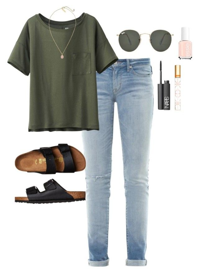 """""""Casual Saturday in my Birks"""" by laurentaylor55 ❤ liked on Polyvore featuring Marc by Marc Jacobs, Uniqlo, Birkenstock, Essie, Kendra Scott, Tory Burch, NARS Cosmetics and Ray-Ban"""