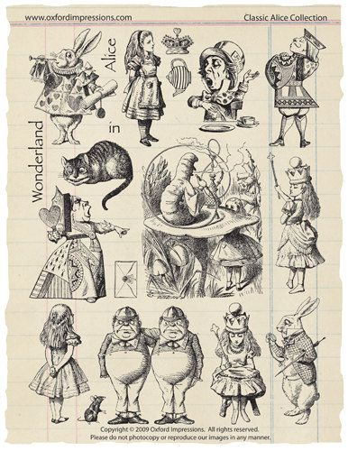 Alice In Wonderland-Stempel-Sammlung