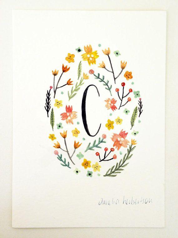Monogram Letter C Yellow floral art print