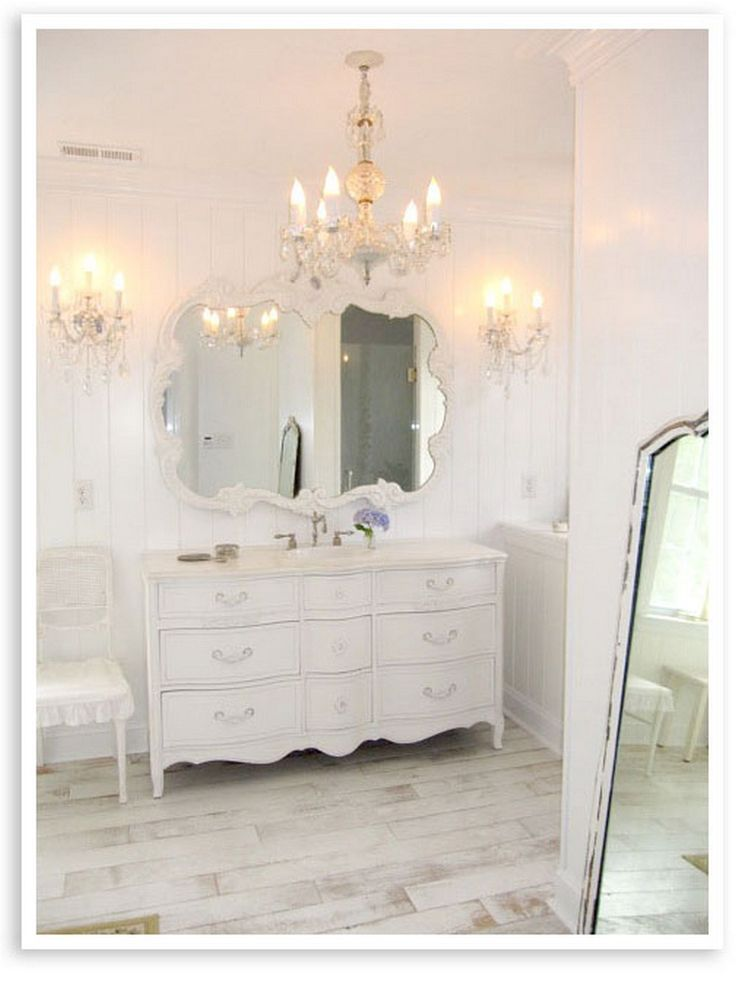 Bathroom With Shabby Chic Dresser 35