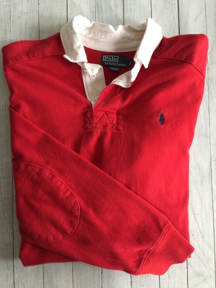 Men's Polo By Ralph Lauren LS Rugby Polo Shirt Red White Navy Pony Large #PoloByRalphLauren #RugbyPolo