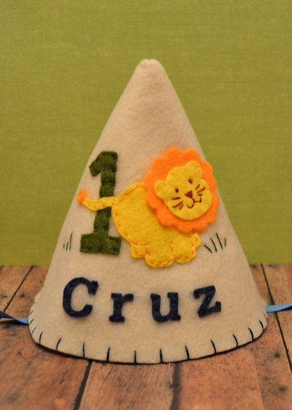 Felt Lion Party Hat, Boy Birthday Hat, Safari, First Birthday, Personalized, Zoo on Etsy, $20.00