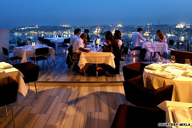 Best restaurants in Istanbul | CNN Travel-Mikla  has been at the forefront of the city's contemporary food scene since it opened in 2005. Views over the city from the restaurant's terrace, taking in the Hagia Sophia and Topkapi Palace, are astonishing.  The hotel's rooftop bar makes great pre-dinner drinks and the views from here are even more spectacular.