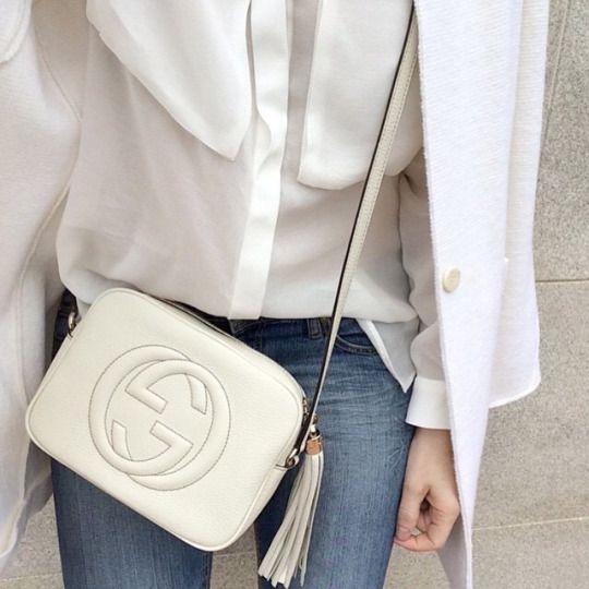 white + gucci + soho bag