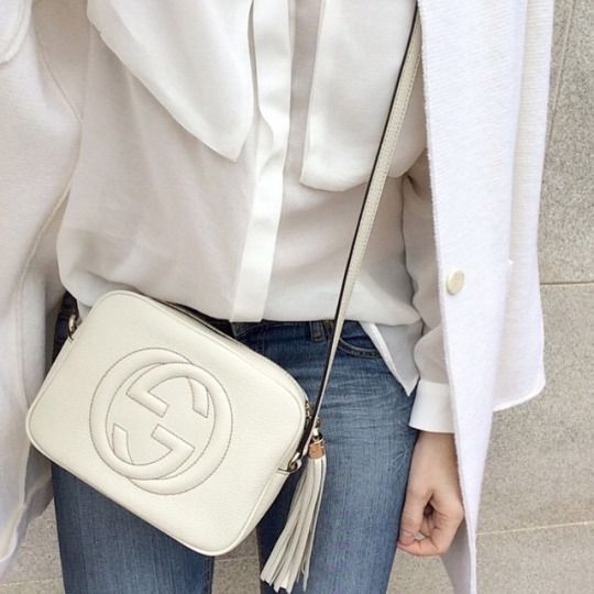 white + gucci + soho bag