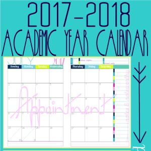 2017 to 2018 2 Page Academic Calendar - For Appointment Keeping