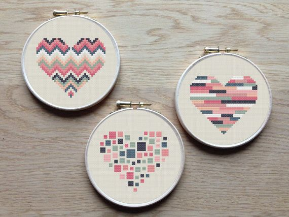 A set of 3 geometric heart patterns. Try different color combinations and fabrics to create a new look every time!  The pattern comes as a PDF file
