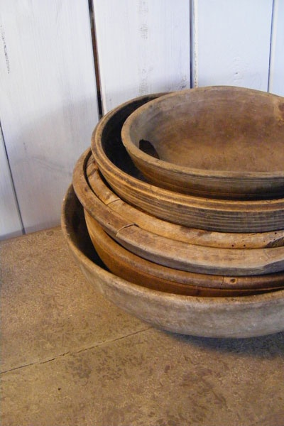 Beautiful antique wooden bowls