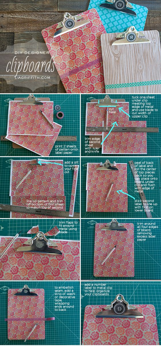 Style Your Clipboards with Printed Label Paper and Washi Tape