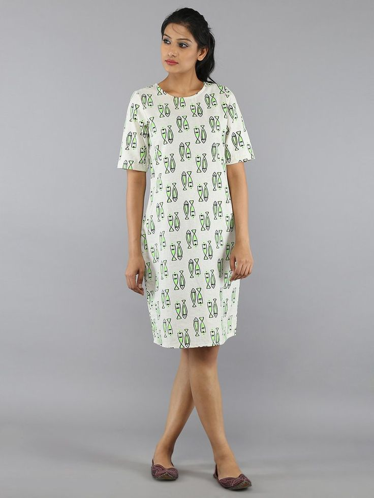 Off White Green Cotton Tulip Dress | THE LOOM WESTERN WEAR ...