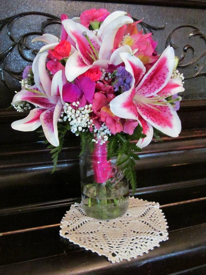 Wedding Bouquet Of Stargazer Lilies Purple Dendrobium Orchids Hot Pink Alstroemeria Lilies