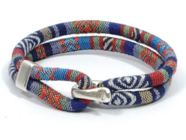 blue tones ethnic bracelet * blue aztec fabric bracelet * nautical hook bracelet * unisex fabric bracelet * blue woven bracele | Meylah