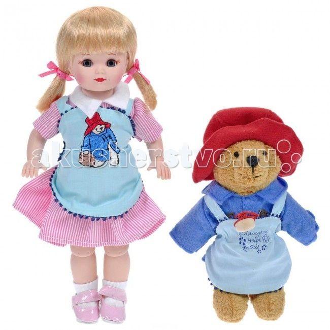 """Madame Alexander Кукла Мэри и медвежонок Паддингтон 20 см  Кукла Madame Alexander """"Мэри и медвежонок Паддингтон"""" станет прекрасным украшением любой коллекции.   Кукла Мэри с серыми глазками и светлыми волосами одета в бело-розовое полосатое платье с белым воротничком, поверх платья - нежно-голубой передник с вышитым мишкой. На ее ножках - белые носочки и лаковые розовые туфельки без каблучка на ремешках.   В комплект с куклой входит ее верный друг Паддингтон - забавный медвежонок в красной…"""