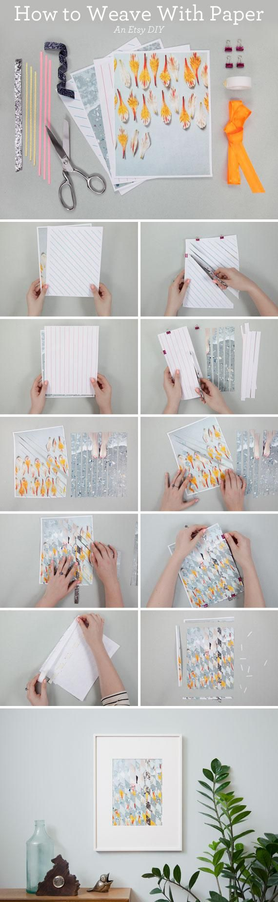 From ETSY BLOGS: Create original art with this easy tutorial for paper weaving  #getcreative #adelinecrafts