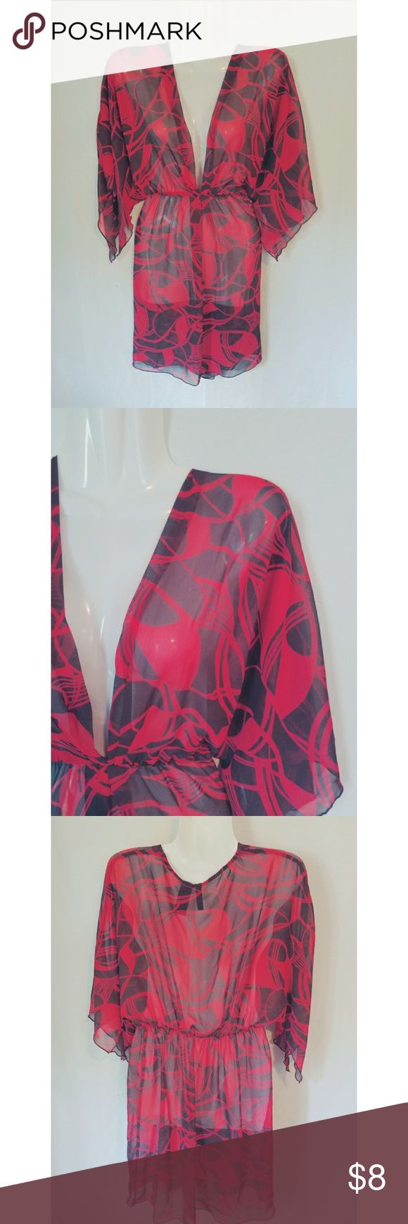 🔥5for$25 Bisou Bisou Sheer Red & Black Tunic - Bisou bisou brand - Size Medium - Sheer red and black material - Wear as a tunic or bathing suit cover up - Measurements upon request Bisou Bisou Swim Coverups