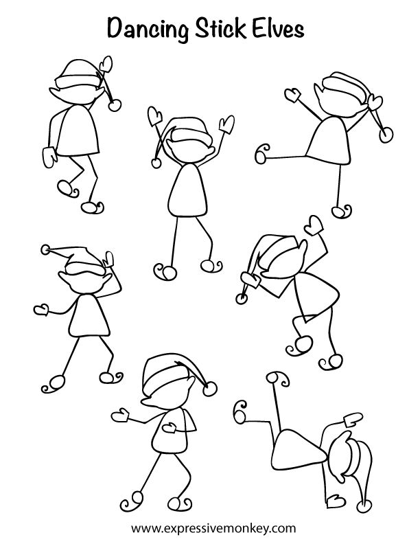 Draw a Dancing Stick Elf!  Fun, Fun, Fun!