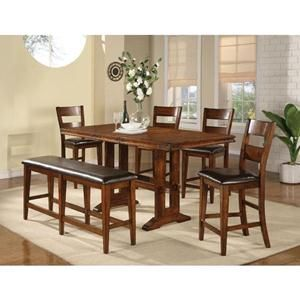 Mango Tall Table In Tobacco Cherry With 4 Chairs And Bench