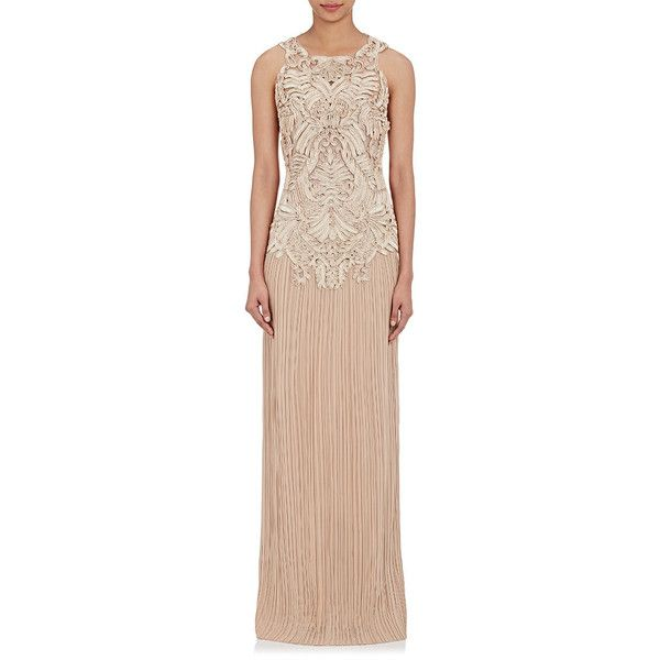 Alberta Ferretti Women's Embellished-Bodice Evening Gown ($4,379) ❤ liked on Polyvore featuring dresses, gowns, no color, embellished gown, pink gown, sequin evening gowns, see through dress and jersey dress