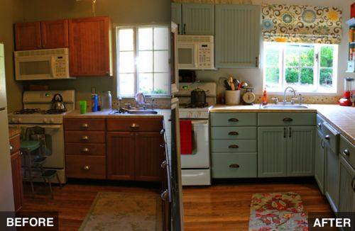 before and after- no construction! Make over your kitchen with some paint and new fabrics :D