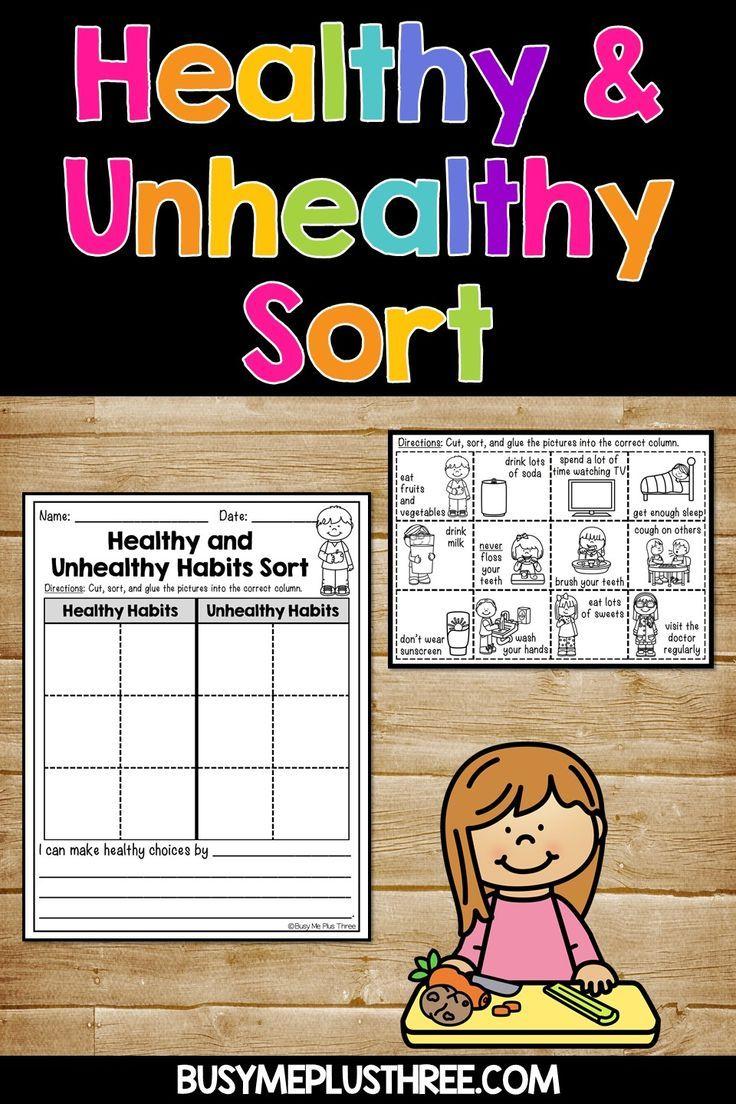 Healthy Habits And Unhealthy Habits Sort Worksheet Activity Healthy Habits Kindergarten Kindergarten Worksheets Worksheets For Kids [ 1104 x 736 Pixel ]