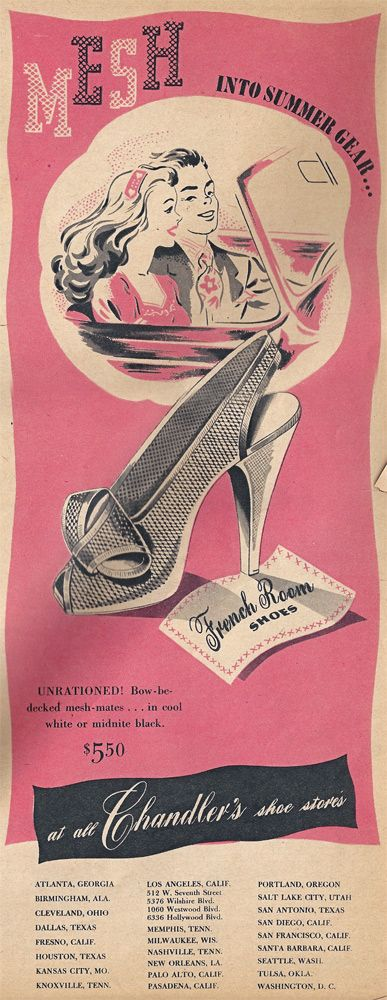 stylish mesh shoes from the mid 1940s (would retail for about 68 in today's dollar! Not too shabby...). | via Elegant Musings.: Logo, Shoe Ad, 1940 S Vintage, 1940S Shoes, Vintage Shoes, Shoes Illustrations, Vintage Style