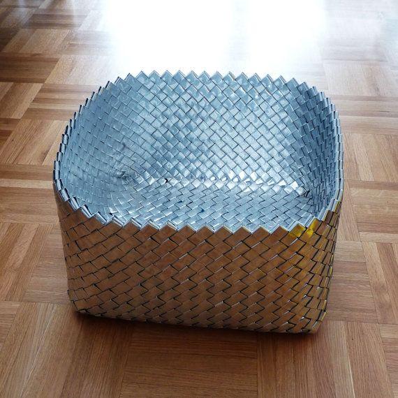 Large handmade bowl basket candy wrap technique silver - Cestas de mimbre ikea ...
