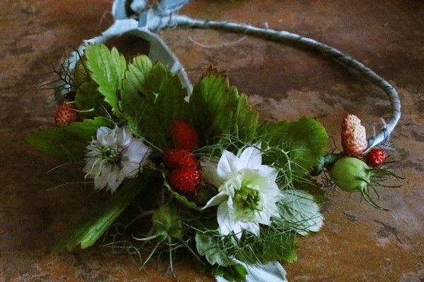 Wild strawberry and white nigella flower crown for an early summer bride // The Natural Wedding Company