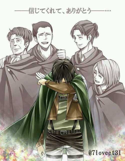 NO. NO. THAT'S NOT OKAY. LOOK AT THEM. LOOK. AW, LEVI, IT'S OKAY, YOU TRUSTED US AND THAT'S WHAT MATTERS AHAHA ITS TOTALLY OKAY THAT WE ALL GOT KILLED OFF BY THE GIANT SKINLESS BITCH,,,