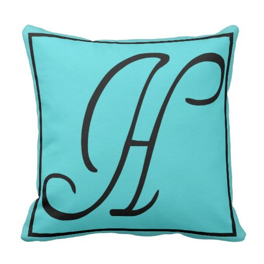H INITIAL PILLOW - Letter H on Aqua Background