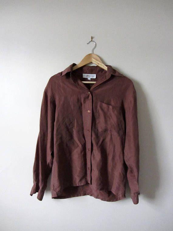 Vintage 80s Brown Silk Oversized Blouse
